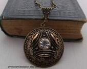 Victorian Vintage Style art deco pendant Vintage Rhinestone button antique gold black