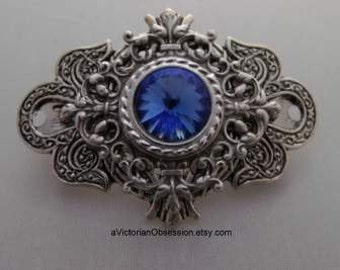 Hair barrette Vintage Victorian saphire blue crystal and silver hair barrette