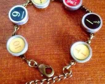 Colorful typewriter key bracelet / 6 function keys / red typewriter key