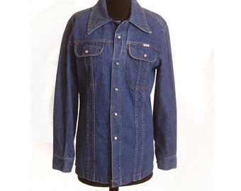VIntage 1980s Mens Do Nothing Fitted Denim Jacket size S