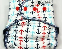 Custom Cloth Diaper AI2 - Made to Order All in Two - Multi Anchors - Nautical Diapers Nappies - You Pick Size and Style - Baby Gift Idea