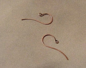 Antiqued Copper Plated French Ear Wires JS#144 - 1 Pair - jeweler's de-stash / new unused supply - 3.2 cm long - minimalist modern chic