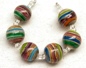Blue, green, pink, porange metallic 18mm round Handmade lampwork glass beads SRA set of 6 Lampwork Beads,Unique Colorful Beads for Crafts