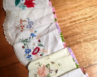 Pretty Handmade - Upcycled Vintage Embroidered Doily Bunting Flags Banner