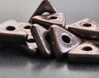 Ceramic Bronze Patina Metallized 10mm Triangle Mykonos Greek Ceramic  Bronze Spacer : 12 pc Ceramic Triangle Spacer Bead