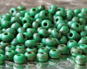 Green Travertine 6/0 Czech Glass Picasso Seed Bead : 25 grams Green 6/0 Seed Bead
