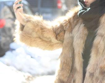 ViNtAgE 70s genuine raccoon jacket coat leather coat