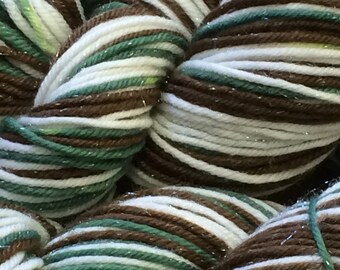 "sparkly Self striping ""Frosty Evergreen Stripe"" yarn worsted weight - in stock ready to ship"