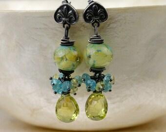 Lampwork Earrings - Wire wrapped Earrings - Dangle Earrings - Gemstone Earrings - Artisan Earrings - Cluster Earrings - Sterling Earrings