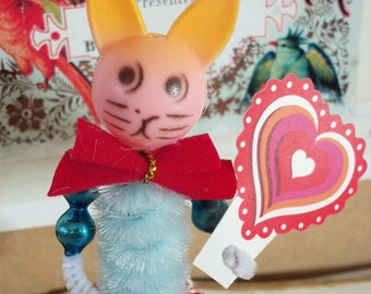 Bunny Rabbit Pipe Cleaner Figure / Free-standing / Made from Vintage Craft Supplies / Some Bunny Loves You!