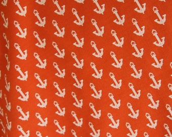 Free Shipping Large piece of Beautiful Vintage Polyester Fabric Anchor design nautical Orange Double Knit