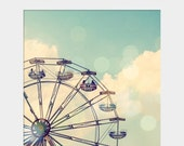 Holiday Sale Ferris Wheel: whimsical fine art photograph print with carnival ride (children's nursery wall art, square, aqua, turquoise, sky