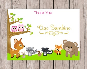 PRINTABLE Woodland Forest Animals Thank You Card / Forest Friends Thank You Card for Baby Shower or Birthday Party / 5x7 / Instant Download