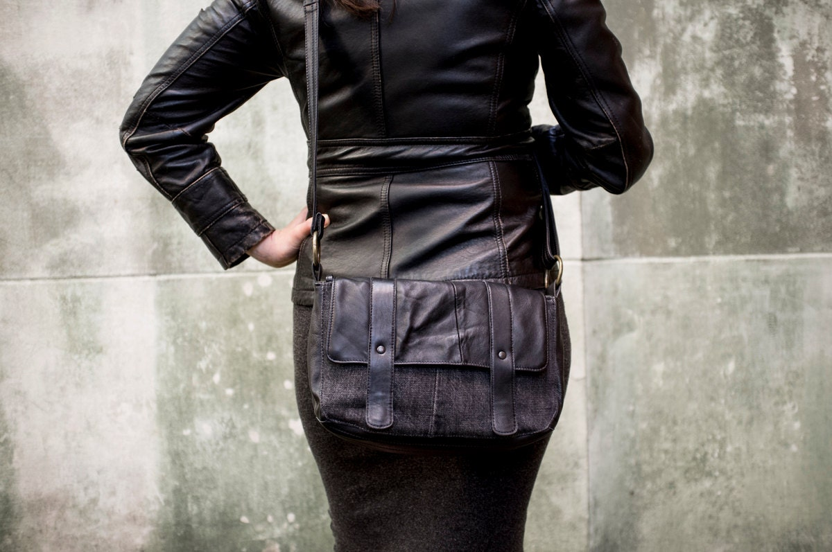 RECLAIMED Black Denim & Leather Cross body Purse