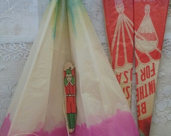 Two Vintage Paper Parachute...Made in Japan..Sealed