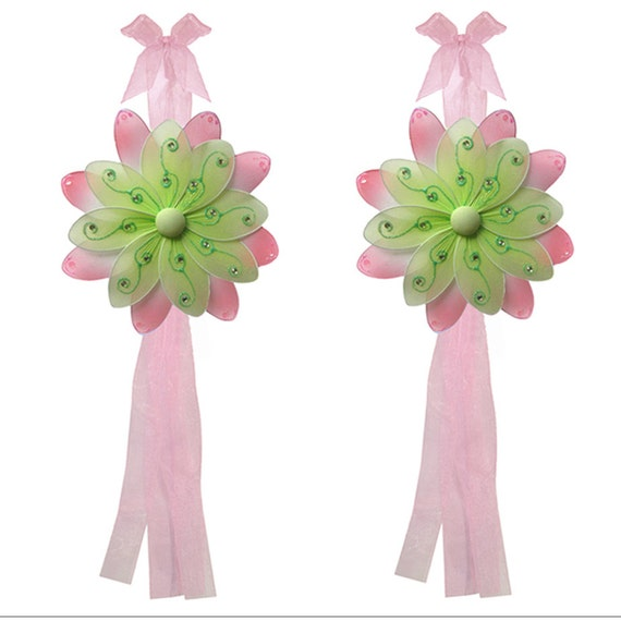 TWO Flower Curtain Tie Backs Curtain Tiebacks Drapery Holdback