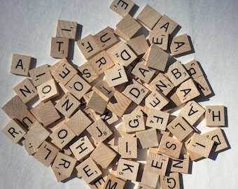 Lot of 100 scrabble tiles for jewelry and crafts initials necklaces wood