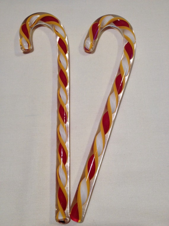 Glass candy canes set of ornaments