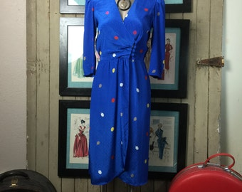 1980s dress blue dress wrap dress size small 80s dress office dress puff shoulders Vintage dress secretary dress