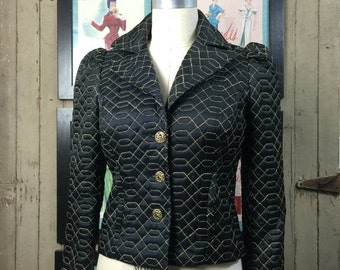 On sale Betsey Johnson jacket black satin jacket fitted vintage jacket size small quilted puff shoulders