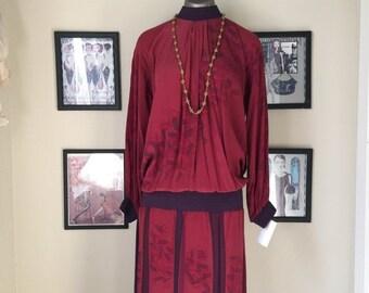 1980s drop waist dress 80s does the 20s hand painted silk dress size medium Vintage Sansappelle dress