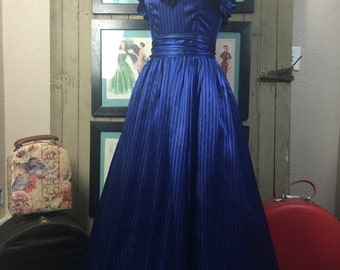 Fall sale 1980s party dress 80s prom dress size medium Vintage striped gown blue satin gown
