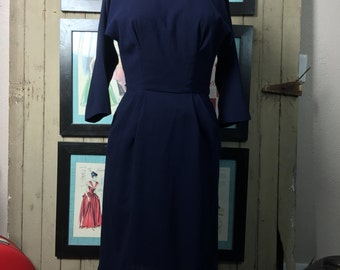 1950s wool dress 50s wiggle dress size small medium Vintage winter dress joan holloway