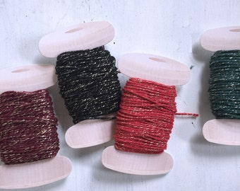 Christmas Sparkle Twine, 20 yards, Heavy Bakers Twine, Gold, Red, Green, Black, Valentine Day Twine