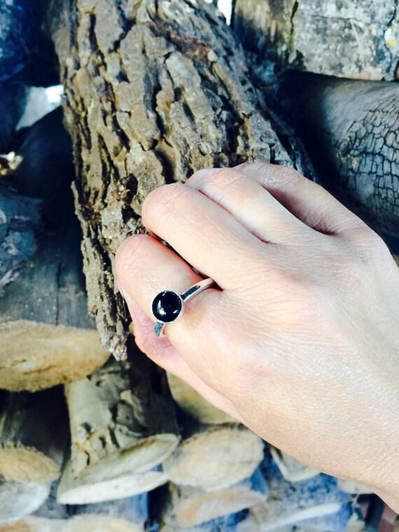 Black Onyx Stacker Ring-vegan ring- vegan jewelry-recycled- birthday- anniversary - gift- vegan gift- stacker rings