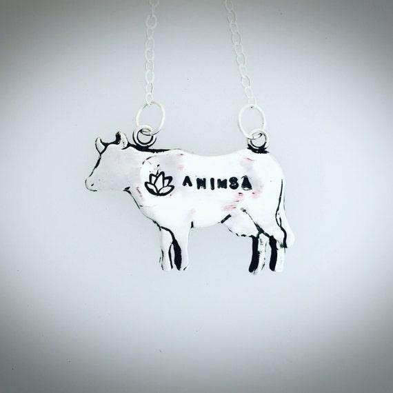 Ahimsa Cow with Lotus Necklace-Metal Clay-PMC-Vegan Necklace-Vegan Jewelry-Vegan Gift-Lotus-Ahimsa-Yoga Jewelry-Birthday-Anniversary