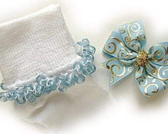 Kathy's Beaded Socks -Holiday Sale- Blue and Gold Scroll Socks, pony bead socks, clear pony beads, light blue glitter pony beads
