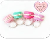 French Macarons Rings, Miniature Food Jewelry, Paris Theme Pink Lavender Mint - Your Choice of one