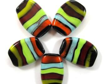 Handmade lampwork bead  glass, Lampwork beads. squeezed beads, stripes, black (5) SRA