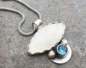 30% OFF - Sterling Silver Rainbow Moonstone Blue Topaz Necklace
