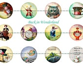 Wonderland Pins, Wonderland Magnets, Wonderland Flatbacks, Wonderland Badges, Alice in Wonderland, Wonderland Party Favors, Alice Magnets