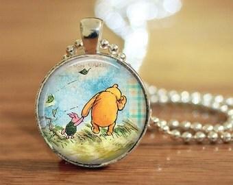 Winnie the Pooh Pendant, Vintage Pooh Illustration, Pooh Bear Necklace, Winnie the Pooh Jewelry, Pooh Bear Pendant