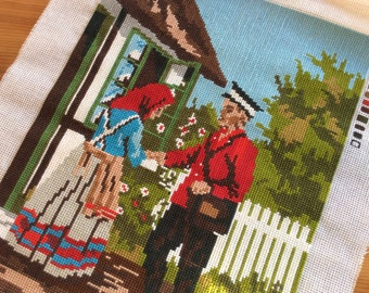 Embroidered Panel to Frame or Sew Cushions / Bags. Scandinavian Folk Art Scene, Cross Stitch. Mailman Delivering Mail. Wall Art, Crafts.