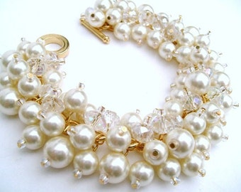Set of 4 Bracelets, Bridal Jewelry, Wedding, Pearl Bridesmaid, Cluster Bracelet, Pearl Bracelet, Ivory Pearl Jewelry - Bliss - Gold Plated