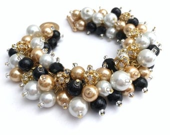 Black White Gold Pearl Bracelet with Rhinestones, Bridesmaid Jewelry, Cluster Bracelet, Black Wedding Jewelry, Christmas Wedding Jewelry