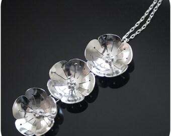 Sakura Blossom Necklace - Sterling Silver Cherry Tree Flower Pendant