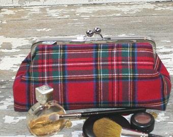 Red Plaid Clutch Purse, Plaid Purse, Plaid handbag, Christmas Gift for Her, Winter Accessory