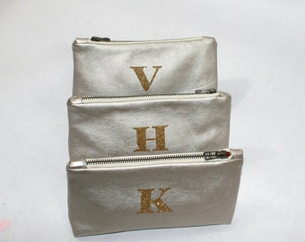 Personalized Gift for Her Monogram Clutch Bridesmaid Gift Set Purse Custom Zipper Pouch Metallic Gold Leather Gift Cosmetic