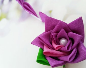 Purple Plum Rose Silk Kanzashi Flower Hair Clip