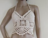 CROCHET CROP TOP, festival top, crochet halter top,  festival clothing, hippie , Burningman festival, gypsy soul, **skirt sold seperately**