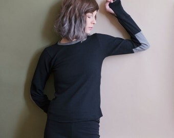 BLACK Thermal Jammies, pajama sets or separates. Long sleeve and thumbhole waffle knit top and matching thermal leggings.