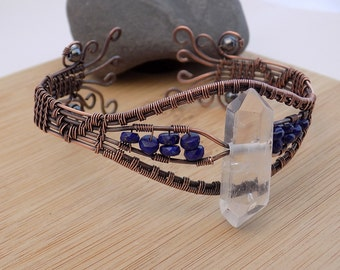 Drilled Quartz Point Lapis Lazuli Hematite Beads Oxidized Copper Cuff Bracelet Wire Wrapped