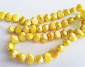 Yellow Gold Shell Nugget Beads 54 pieces