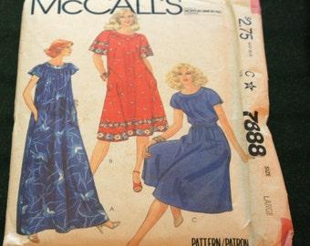 Vintage Yoke dress sewing pattern UNCUT McCalls size Large, women summer dress  woman lounge dress sash sewing pattern, dress sewing pattern