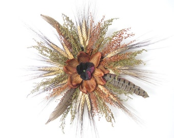 Green Black Gold Wheat and Feathers Dried Wreath