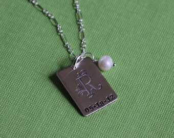 Initial and Date Necklace, Hand Stamped in Sterling Silver